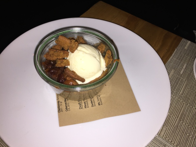 Persimmon Pudding with white chocolate/coconut ice cream